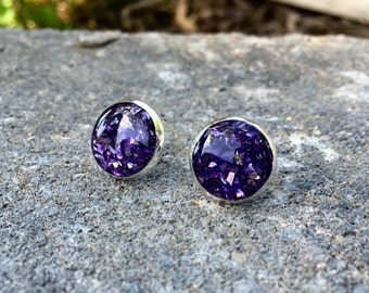 Shattered Violet Stud Earrings