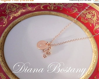 ON SALE Rose Gold Baroque Cross Necklace,  Customized, Initial Charm, 14K Gold fill chain, Communion, Confirmation Gift