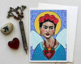 Frida with Wings - Santa Frida - 5x7 Art Card with Envelope