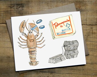 "Lobster Dinner Card 4.25"" x 5.5"" Watercolour Blank Card with Envelope"