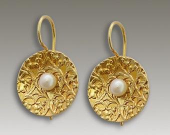 14k yellow gold earrings , Disc earrings,  Gold filigree earrings, fresh water pearls earrings, bridal earrings - Inner peace EG2096G