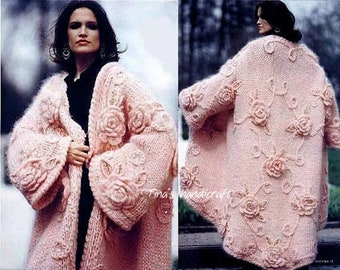 knitting cardigan, winter clothing, bohemian style , gift ideas,mohair ,wool,long coat,flowers decorations