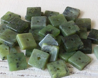 8mm Gemstone Tile Beads - Jewelry Making Supplies - Nephrite Jade - Green Canadian Jade - 20 beads