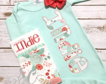 Baby Coming Home Outfit - Newborn Gown with Bow - Baby Shower Gift Set - Mint & Coral Gown - Unique Baby Clothes - Monogrammed Baby Gown