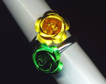 Adjustable Rose Ring . Stackable Stacking . Floral .Yellow gold, Emerald green, Lilac purple, Copper - Classy Rose  by enchantedbeas on Etsy