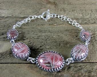 Rhodonite Scarab & Sterling Silver Bracelet, Pink and Silver Bracelet, Egyptian Scarab Jewelry