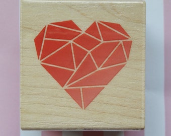 Gemstone Heart Wood Mounted Rubber Stamp Paper Craft Supplies
