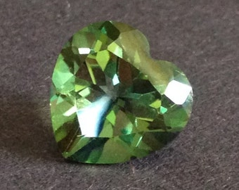 Private Custom Listing for Topaz Heart 5.60 Carats 11x11mm Mystic Green Multi Color Gemstone with Video