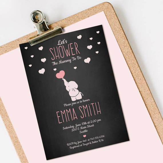 Elephant Baby Shower Invitation INSTANT DOWNLOAD