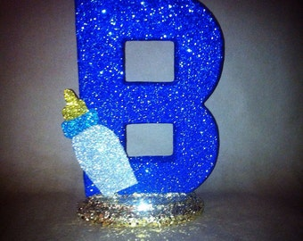 Sparkling Baby Shower letter with Baby Bottle Accent piece Any letter or color!