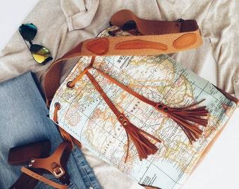 World Map Bucket Bag , Boho Bag , Leather Bag , Cross Body Bag