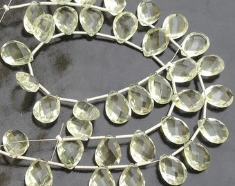 5 Matched Pair of Gorgeous,Best Checker Cut, 9X12mm, GREEN AMETHYST Faceted Pear Briolettes,Best Quality,Great Price
