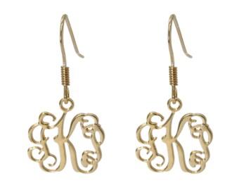 """Monogram dangle earrings. Gold monogram earrings. 0.8"""" monogram earrings. Personalized earrings. Monogram jewelry. Personalized gold earring"""