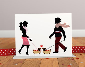 Hot Dogs Greeting Card- Engagement Card- Wedding Card - Dachshund Card - Dog Card - Anniversary Card