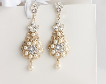 Chandelier Bridal Earrings Gold Wedding Earrings Gold Pearl Crystal Statement Earrings Vintage Wedding Jewelry VALETTA