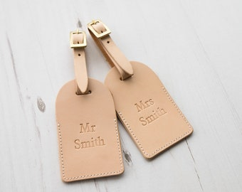 Leather Luggage Tags - Mr & Mrs Custom Personalized Last Name - monogram - natural colour
