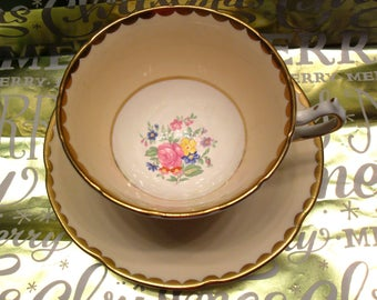 Collingwood England Bone China Gold and Peach Teacup  with Pink Rose Floral Center