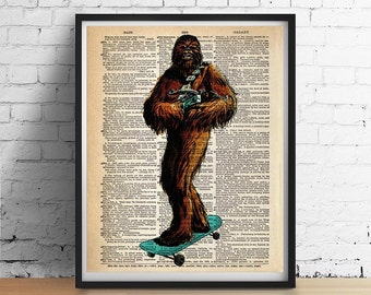 Star Wars CHEWBACCA Print Skateboarding Skateboard Home Decor Boys Room Teens Art Poster Illustration Vintage Dictionary Art 8x10 More Sizes