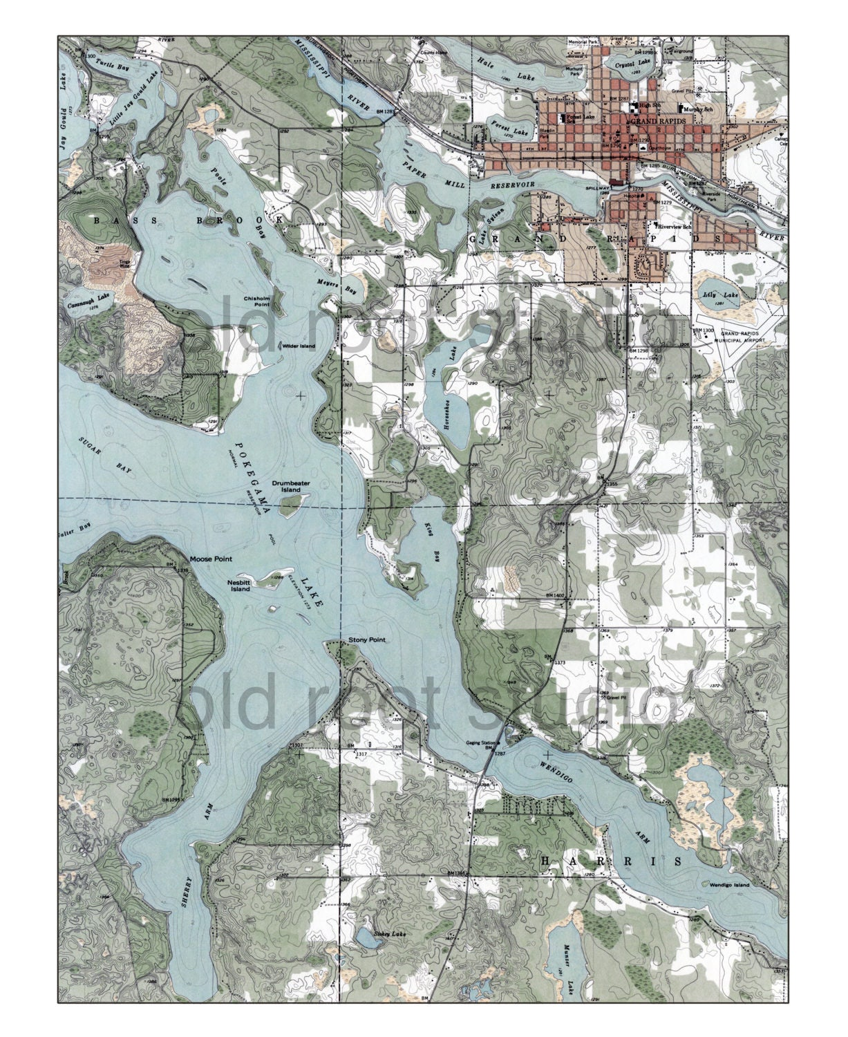 Hand Painted Map Of Pokegama Lake Grand Rapids Minnesota - Pokegama lake map