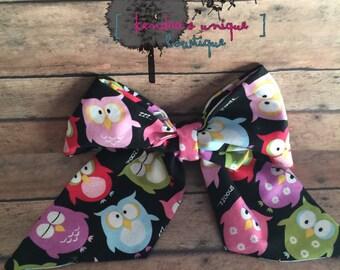 Fabric owl cheer bow, fabric cheer bow, hair bow, owl fabric, hand sewn bow, baby headband, teen bows, hair accessories, clip bows