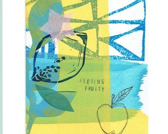 Original art work- called Feeling Fruity, mixed media, by Kate Cooke