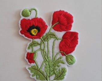 Poppy iron on or sew on patch Poppy patch Poppies sew on patch Poppies iron on patch Poppy applique Flower patch Poppy flowers patch