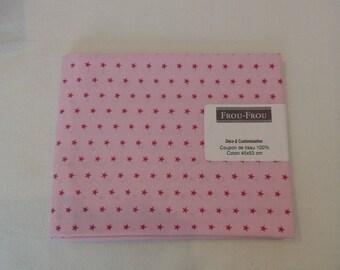 Cotton fabric patch background pink pale pink fuschia star pattern