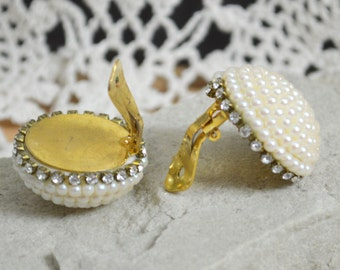 1980s Vintage Clip On Earrings - Large Dome Shape Pearl Clusters with Clear Diamanté Rhinestones  - Gift Boxed
