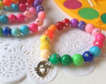 Art birthday party favor, beaded bracelet, rainbow art party, kids birthday party. SET of TEN.