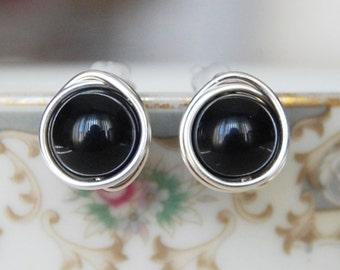 Black Onyx Earrings , Black Studs , Silver Black Earrings , Gold Wire Wrapped Post Earrings