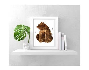Impression d'aquarelle ours, tirage 8 x 10, ours peinture, bébé chambre de bébé garçon