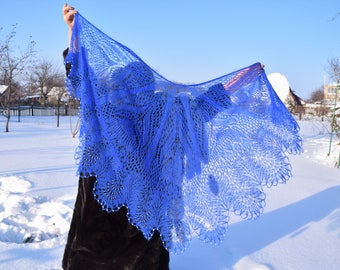 """Handknit black shawl """"Chic navy blue"""" embroidered in  white beads"""
