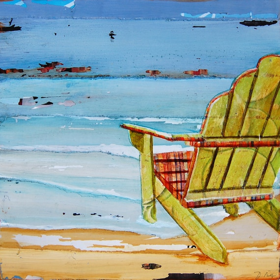 BEACH art PRINT or CANVAS adirondack chair coastal ocean wall home decor retirement vacation summer gift collage painting for her, All Sizes