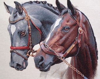 Fabric coupon jacquard tapestry Panel PORTRAIT 2 horses, upholstery, bag, size cushion 46 x 46