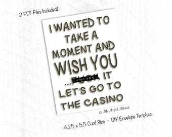 PRINTABLE Card, Funny Boyfriend Birthday Card, Girlfriend Casino Party Night, Gifts For Gamblers, Him Or Her
