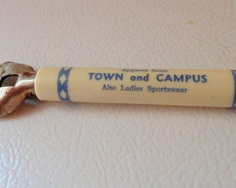 Vintage Can Opener/Carolina/Town and Campus/Gentleman/UNC memorabilia/1960's/Metal/Beer opener/Kitchen/Tool/Cobalt Blue/Vintage Opener/Can