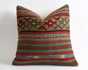 Striped woven pillow, rustic decor, 20x20 pillow covers, cushion covers, navajo pillow, pillow kilim, turkish rug, kilim rug pillow