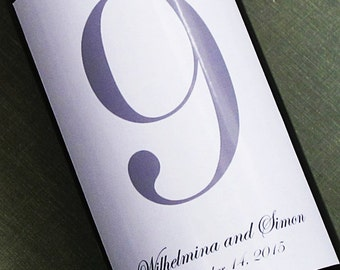 Simple Plain Wine Label Table Numbers with Classic Script