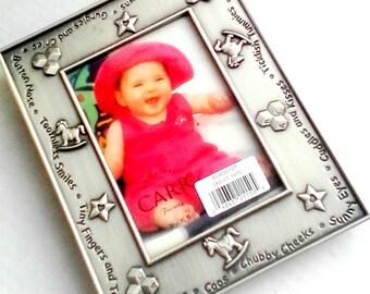 Vintage Frame Metal Baby Picture Frame Rocking Horse Alphabet Blocks Star Design Photo Holder Decorative Standup Desk Frame Raised Design
