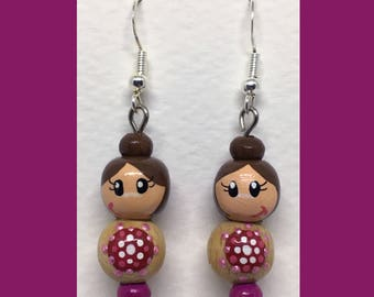 Rondouille Art doll purple/pink earrings
