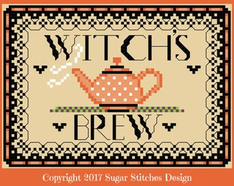 Witch's Brew Halloween Cross Stitch  PDF Digital Cross Stitch Pattern