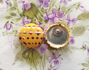 Wholesale Jewelry / Fabric Covered Button Earrings / Retro Yellow / Handmade in NYC / Small Gifts / Sensitive Ears / Studs Earrings