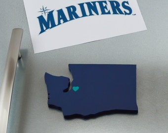 """Seattle Mariners """"State Heart"""" Magnet, handcrafted wood with official team colors"""