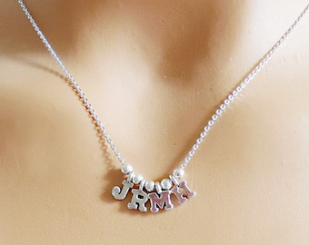 Family initial necklace,Letter Necklace Sterling Silver initial Custom Bridal Personalized Christmas Gift Wedding bridesmaid gift