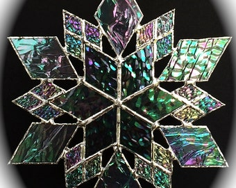 stained glass snowflake suncatcher  (design 15)