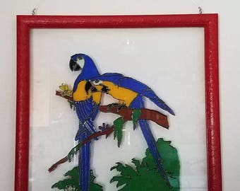 Hand Painted Parrots Framed Glass