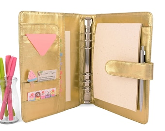 GOLD- Classic A5 Leather Ring Binder Planner - 6 Ring, Lots of pockets, personalized & available in different colors.