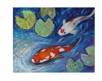 ORIGINAL OIL PAINTING Koi Pond Tropical Fish Art