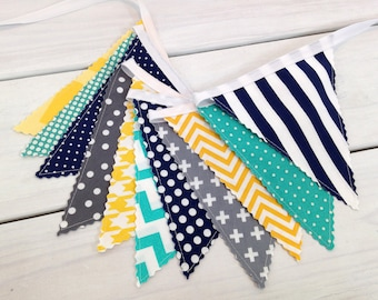 Banner Garland Bunting Baby Boy Nursery Decor Baby Shower Party Decorations Gray Yellow Turquoise Navy Chevron Grey Teal