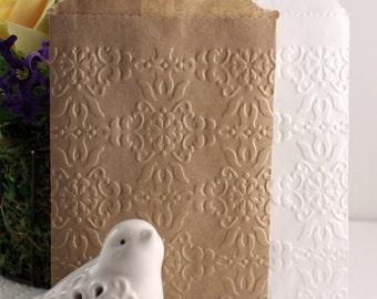25 Damask Embossed Paper Bags, Glassine Bags, Brown Paper Bags, White Paper Bags, Wedding Favor Bags, Silverware Bags, Confetti Bags